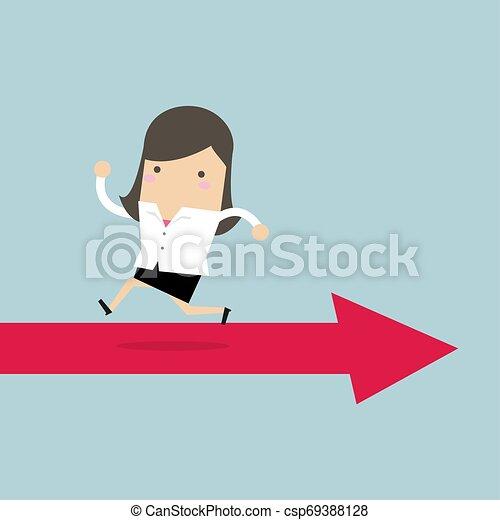 femme affaires, courant, way., flèche, opposé - csp69388128