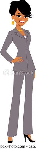 femme affaires, dessin animé, joli, avatar - csp7075509