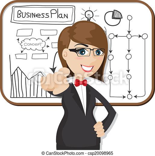 femme affaires, dessin animé, plan affaires - csp20098965