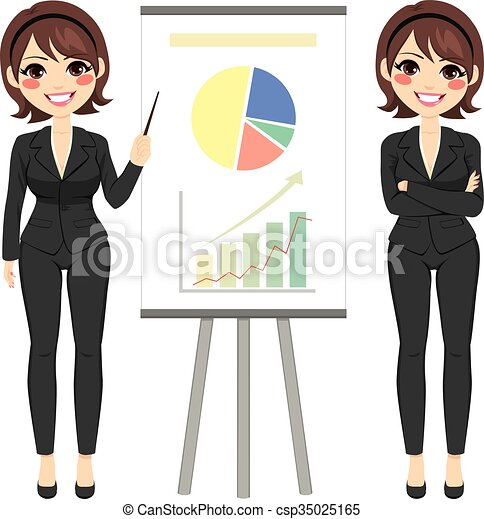 femme affaires, diagramme - csp35025165