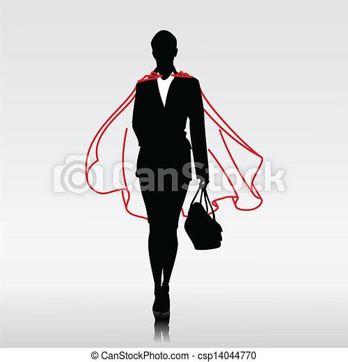 femme affaires, héros - csp14044770