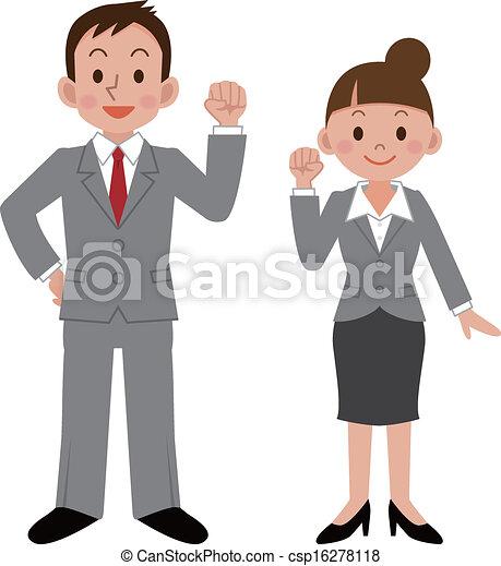 femme affaires, homme affaires - csp16278118