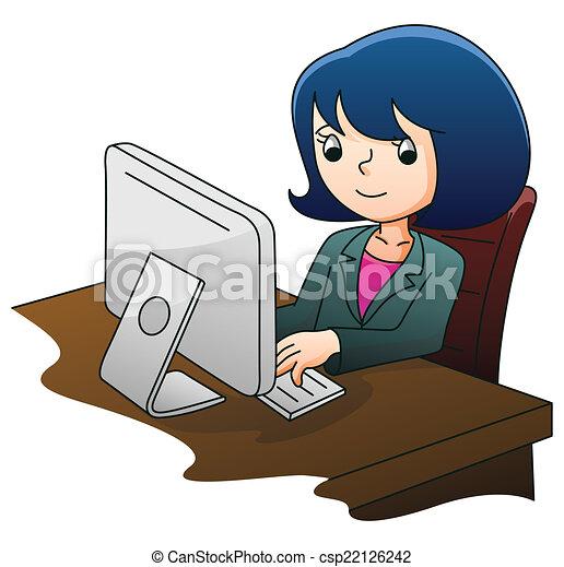 femme affaires, informatique - csp22126242
