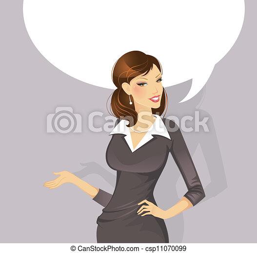 femme affaires, parler - csp11070099