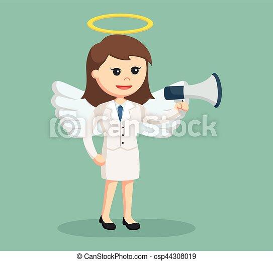 femme affaires, porte voix, ange - csp44308019