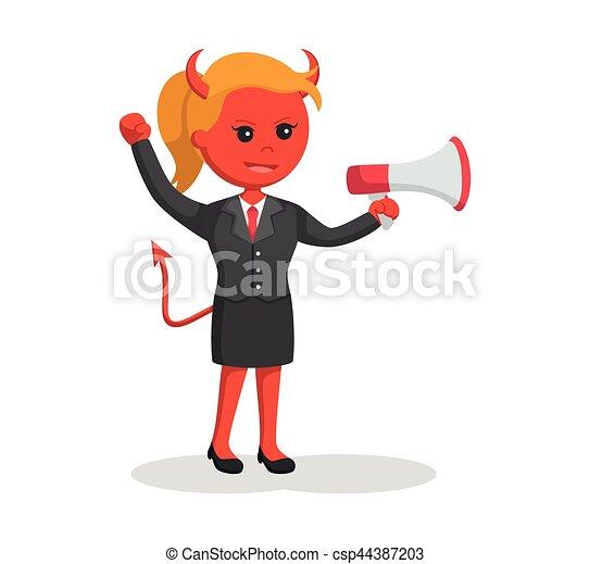 femme affaires, porte voix, diable - csp44387203