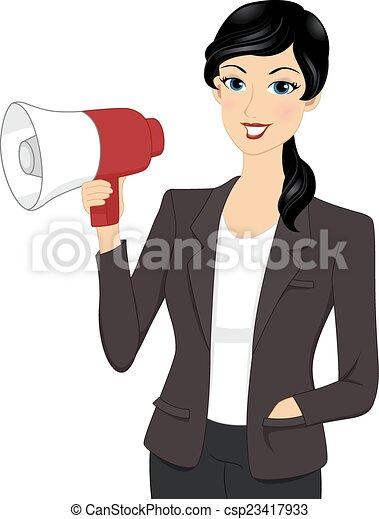 femme affaires, porte voix - csp23417933