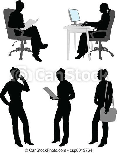 femme affaires, silhouettes - csp6013764