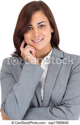 femme affaires, sourire, pensif - csp17669645