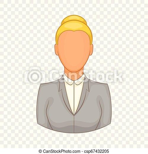 femme affaires, style, dessin animé, icône - csp67432205