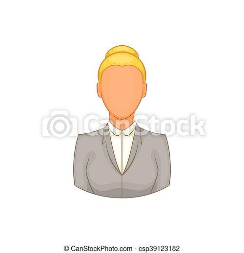 femme affaires, style, dessin animé, icône - csp39123182