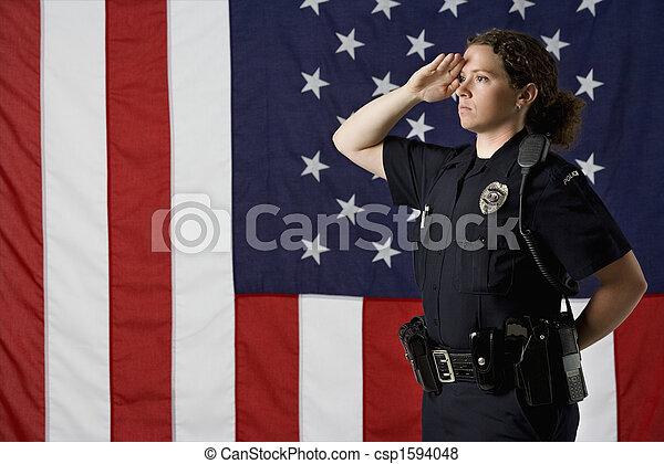 femme-agent, saluting. - csp1594048