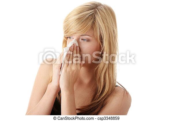 femme, allergie, adolescent - csp3348859
