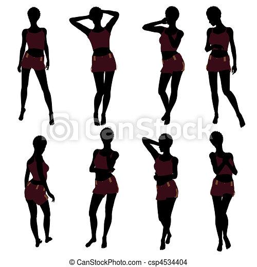 Berühmt Dessin de femme américaine, silhouette, lingerie, africaine  LQ04
