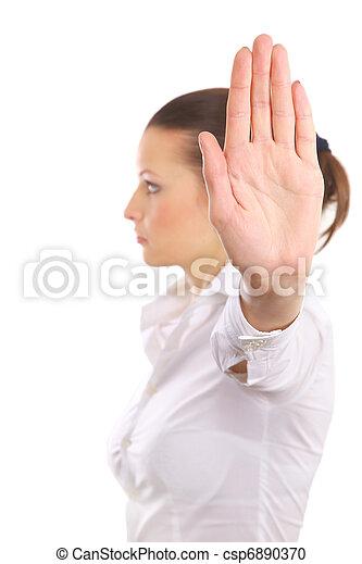 femme, arrêt, isolé, signe, signaler, fond, colère, blanc - csp6890370