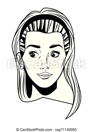 Femme Art Jeune Pop Figure Noir Avatar Blanc Dessin Animé
