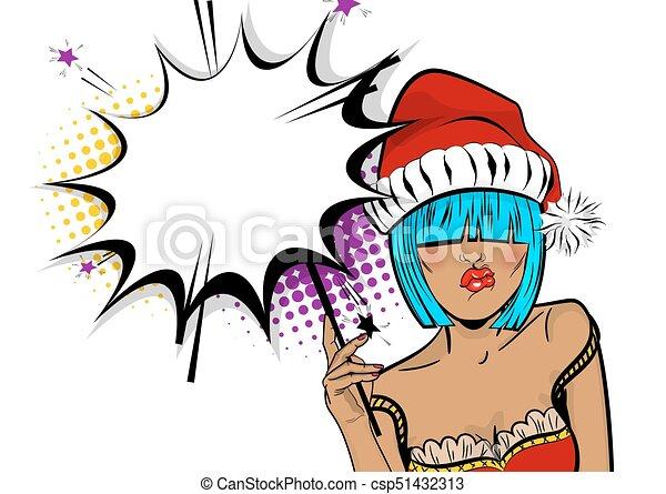 Femme Art Pop Joyeux Sparkler Prise Noël