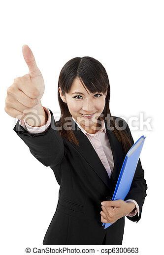 femme, asiatique, pouce, business, haut - csp6300663