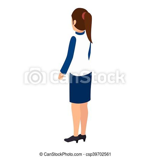 Femme Avatar Dos Debout Porter Dos Femme Illustration