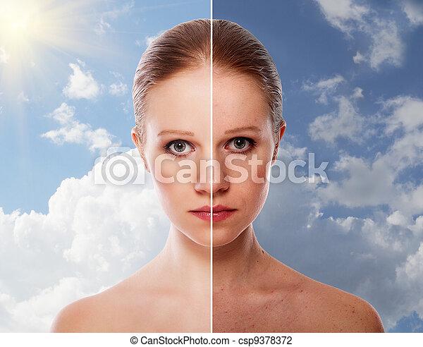 femme, beauté, après, effet, jeune, peau, guérison, procédure, avant - csp9378372
