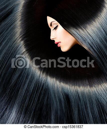 femme, beauté, sain, long, brunette, noir, hair. - csp15361837