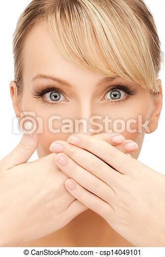 femme, bouche, elle, couverture - csp14049101