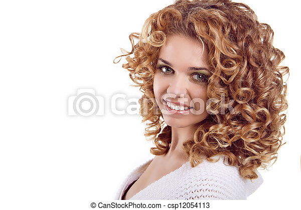 femme, bouclé, beauté, cheveux, arrière-plan., portrait., séduisant, portrait, sourire, blanc - csp12054113