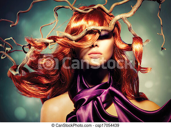 femme, bouclé, longs cheveux, mode, portrait, modèle, rouges - csp17054439