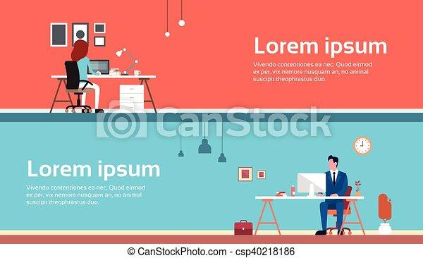 femme, bureau, business, travail, ordinateur portable, informatique, lieu travail, utilisation, homme - csp40218186