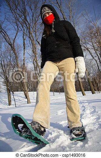 bd52d0200b femme, chaussures, randonnée, neige, /, jeune, raquettes - csp1493016