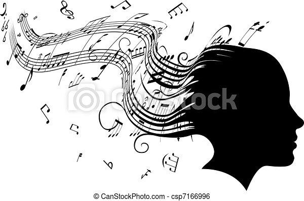 femme, cheveux, diriger profil, musique, concept - csp7166996