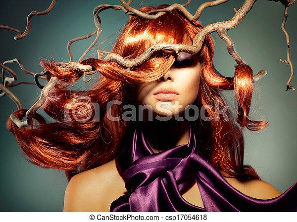 femme, cheveux façonnent, modèle, long, portrait, bouclé, rouges - csp17054618