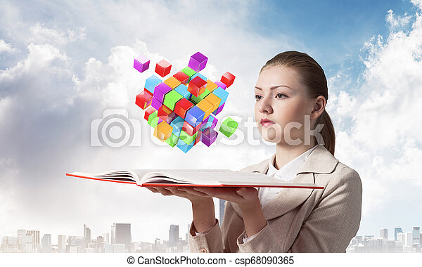 femme, coloré, voler, cubes, regarde, 3d - csp68090365