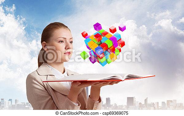 femme, coloré, voler, cubes, regarde, 3d - csp69369075