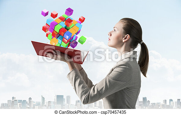 femme, coloré, voler, cubes, regarde, 3d - csp70457435