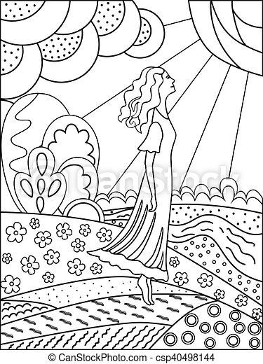 Femme Contour Coloring Simple Nature Dessin Adults