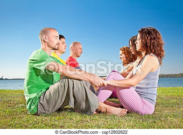 femme, couple, arbre, pratique, homme, yoga, asana - csp12802622