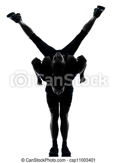femme, couple, exercisme, une, fitness, séance entraînement, homme - csp11003401