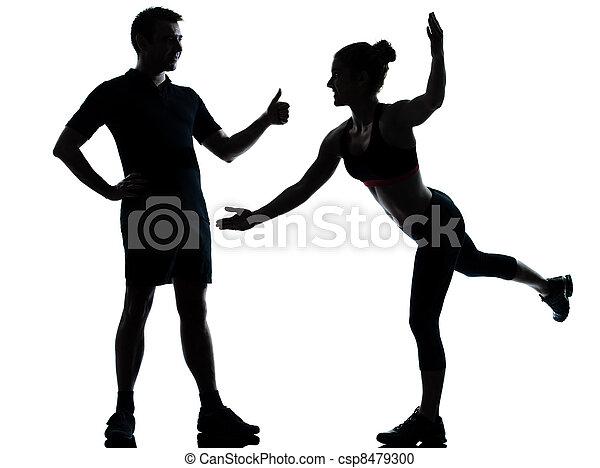 femme, couple, exercisme, une, fitness, séance entraînement, homme - csp8479300