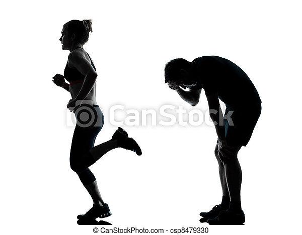 femme, couple, exercisme, une, fitness, séance entraînement, homme - csp8479330