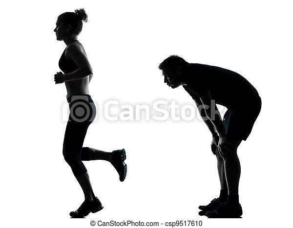 femme, couple, exercisme, une, fitness, séance entraînement, homme - csp9517610