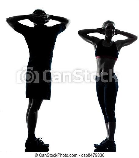 femme, couple, exercisme, une, fitness, séance entraînement, homme - csp8479336