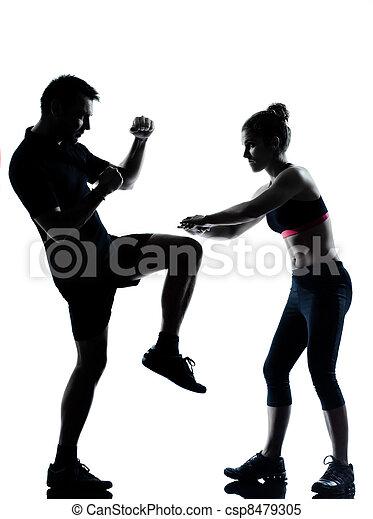 femme, couple, exercisme, une, fitness, séance entraînement, homme - csp8479305