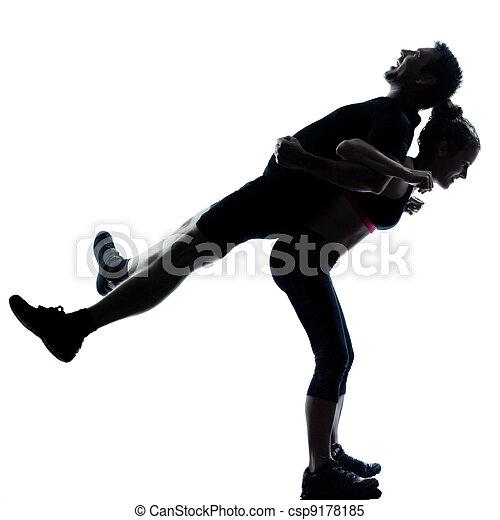femme, couple, exercisme, une, fitness, séance entraînement, homme - csp9178185