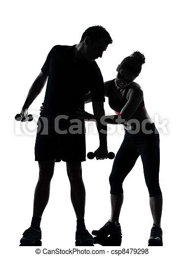 femme, couple, exercisme, une, fitness, séance entraînement, homme - csp8479298