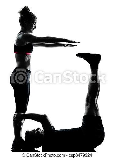 femme, couple, exercisme, une, fitness, séance entraînement, homme - csp8479324