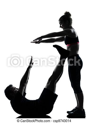 femme, couple, exercisme, une, fitness, séance entraînement, homme - csp9743014