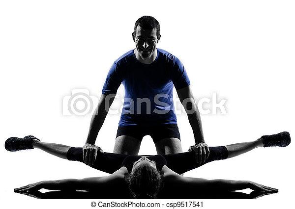 femme, couple, séance entraînement, s'exercer homme - csp9517541