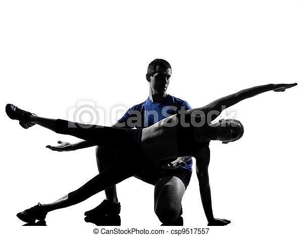 femme, couple, séance entraînement, s'exercer homme - csp9517557