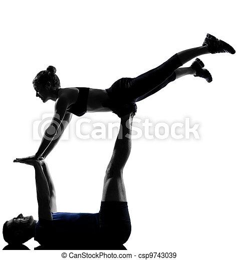 femme, couple, séance entraînement, s'exercer homme - csp9743039